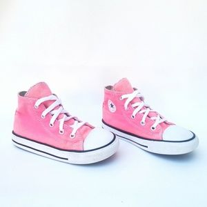 Converse Girls All Star Pink High Top Sneakers 10
